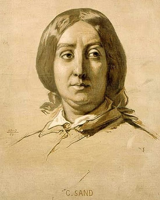George Sand (fusain de Thomas Couture, 1850)